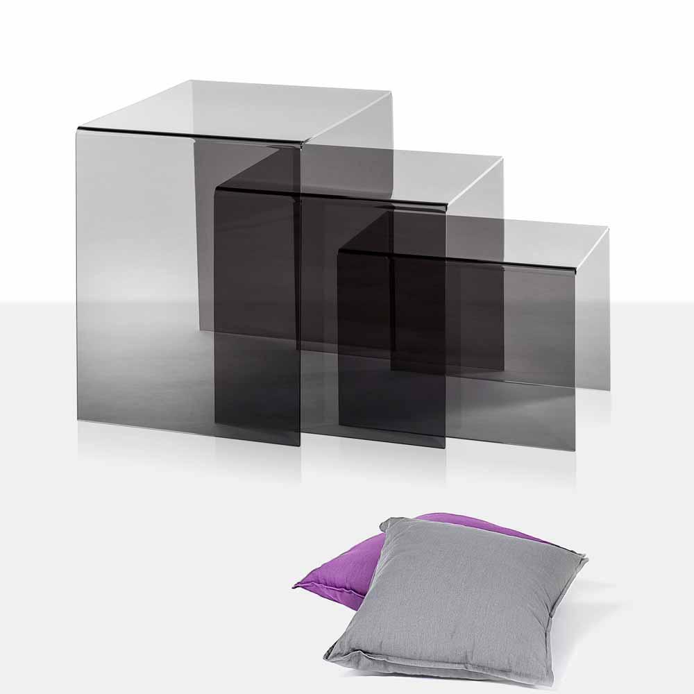 3 ger ucherte berlappende couchtische amalia modernes design made in italy - Moderne couchtische design ...