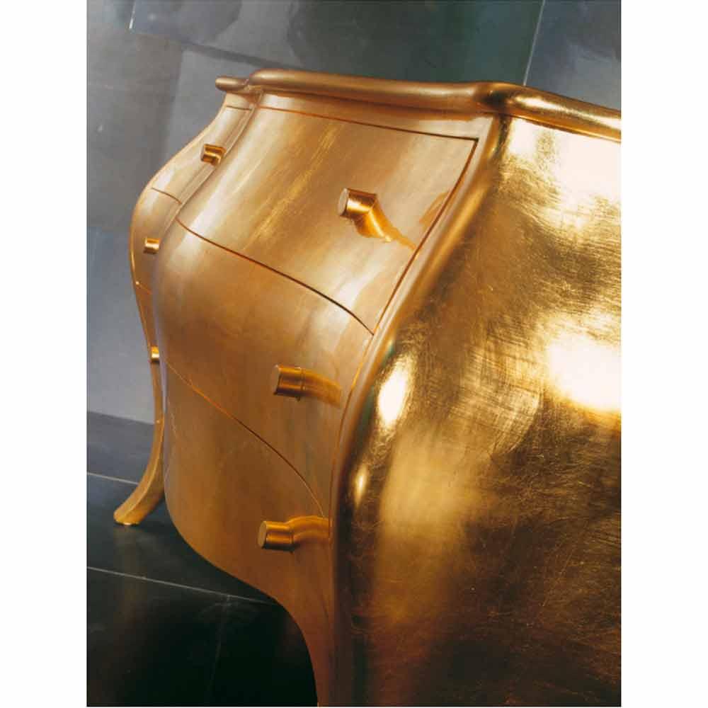 Kommode Mit 3 Schubladen Aus Goldfarbenem Massivholzmade Italy Giotto
