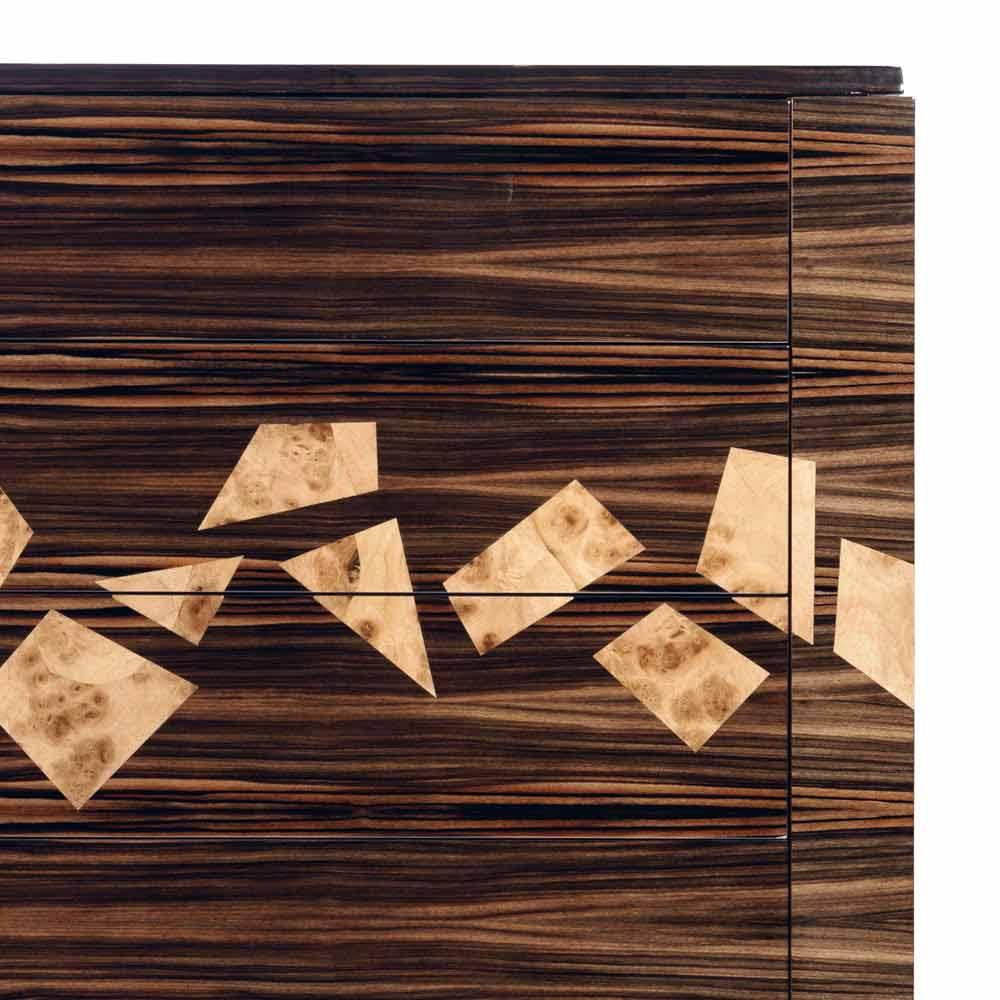 Design Kommode mit 4 Schubladen aus Ebenholz Grilli Zarafa made in Italy