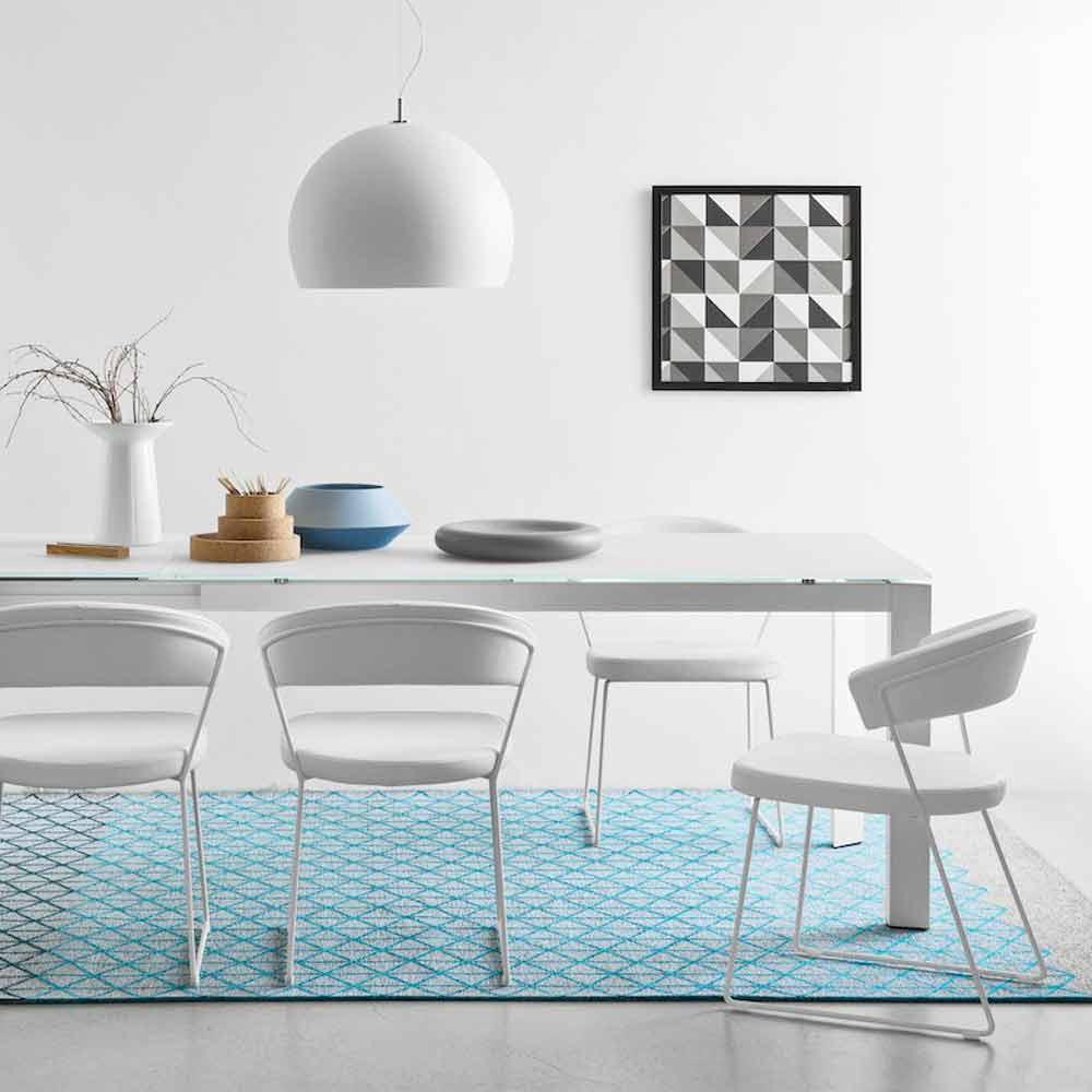 Connubia Calligaris New York moderner Design Lederstuhl, 2 Stück