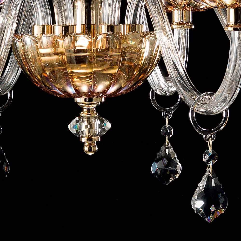 klassischer kronleuchter aus 6 leuchten in belle glas und kristall. Black Bedroom Furniture Sets. Home Design Ideas