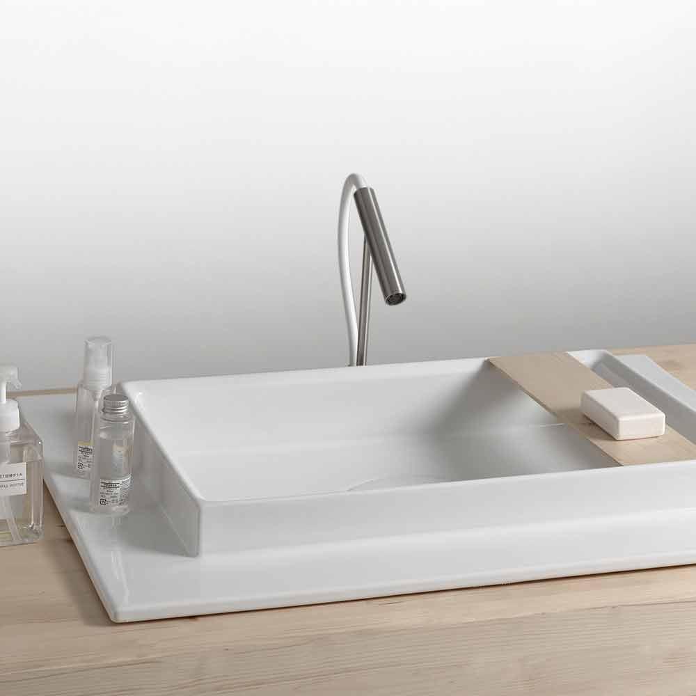 Waschbecken aus Keramik rechteckig in modernem Design Fred
