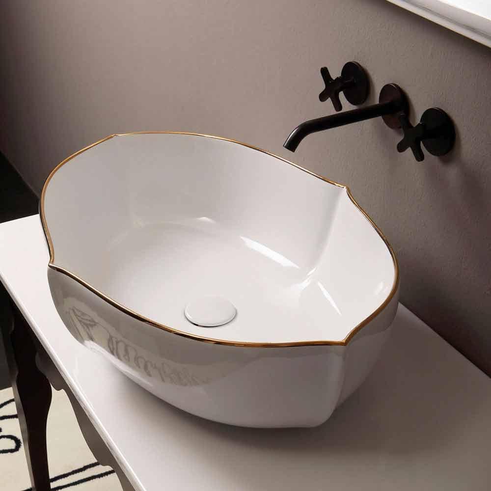Weißes und goldfarbenes Aufstatzwaschbecken aus Keramik Design Italy