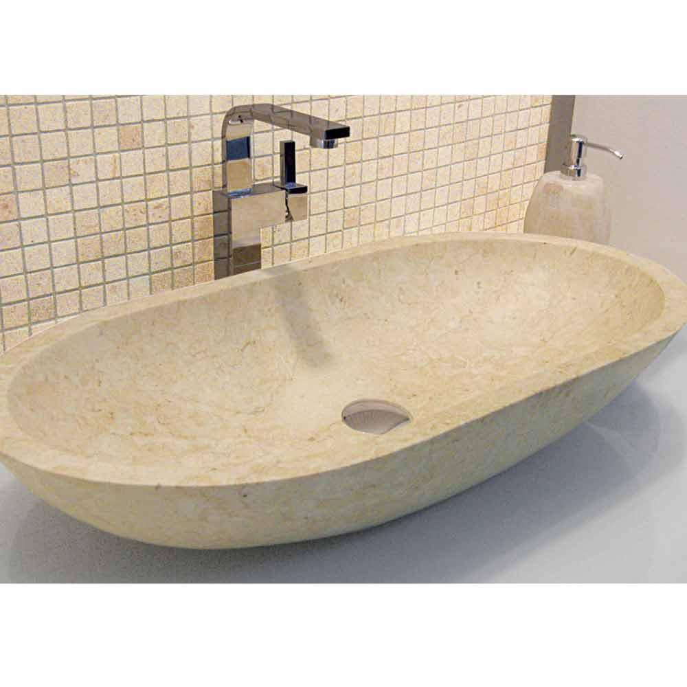 Aufsatzwaschbecken oval aus beigefarbigen basaltstein riau - Ovale wandregale ...