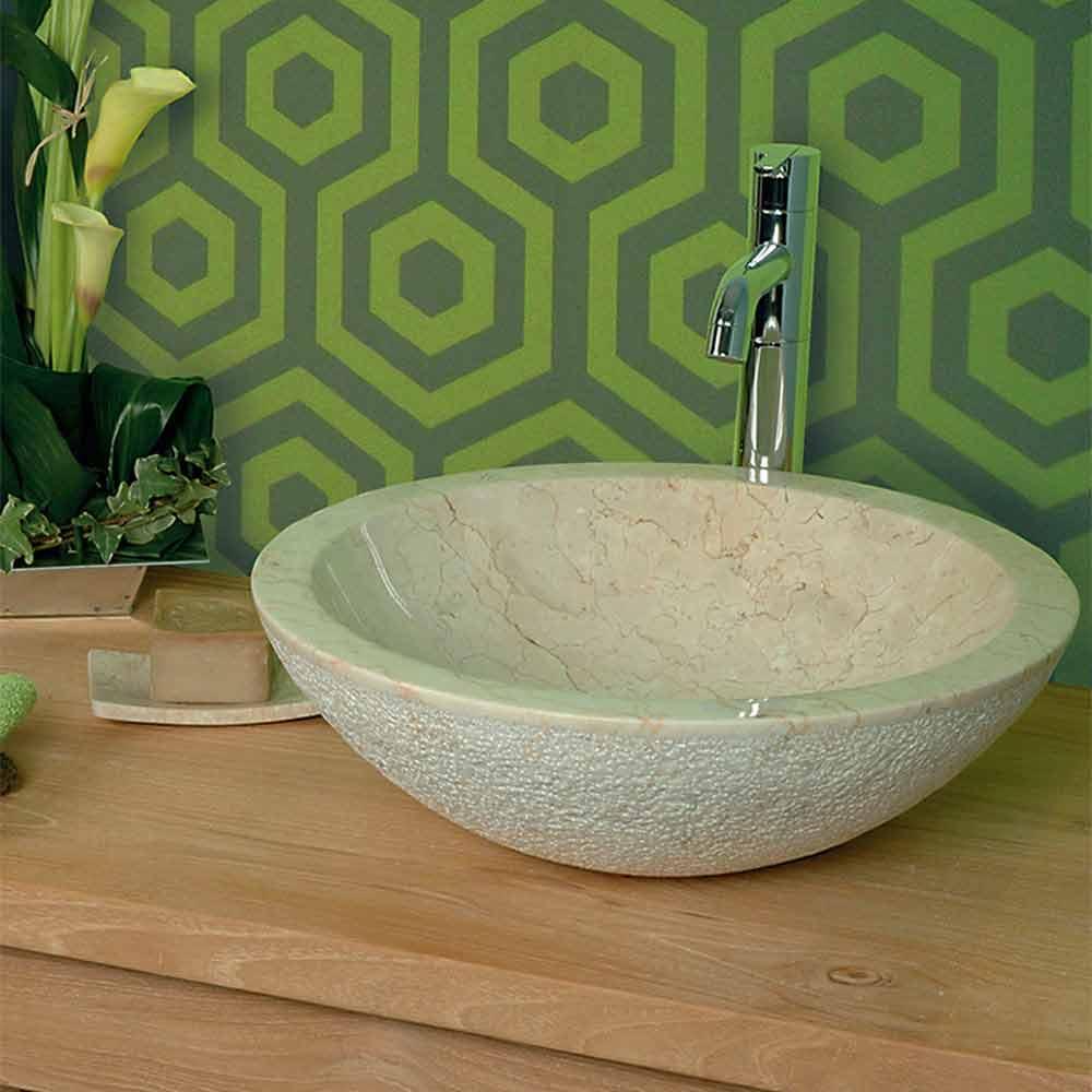 rundes aufsatzwaschbecken aus naturstein beige pai modell. Black Bedroom Furniture Sets. Home Design Ideas