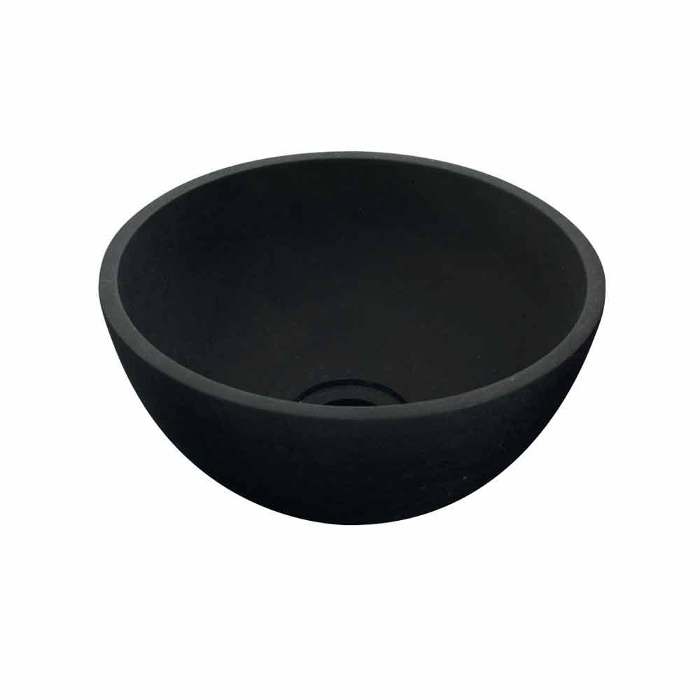 waschbecken aufsatzwaschbecken rund aus schwarzen basalt. Black Bedroom Furniture Sets. Home Design Ideas