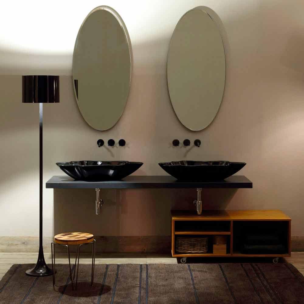 Modernes Design Aufsatzwaschbecken, schwarze Keramik made Italy Rayan
