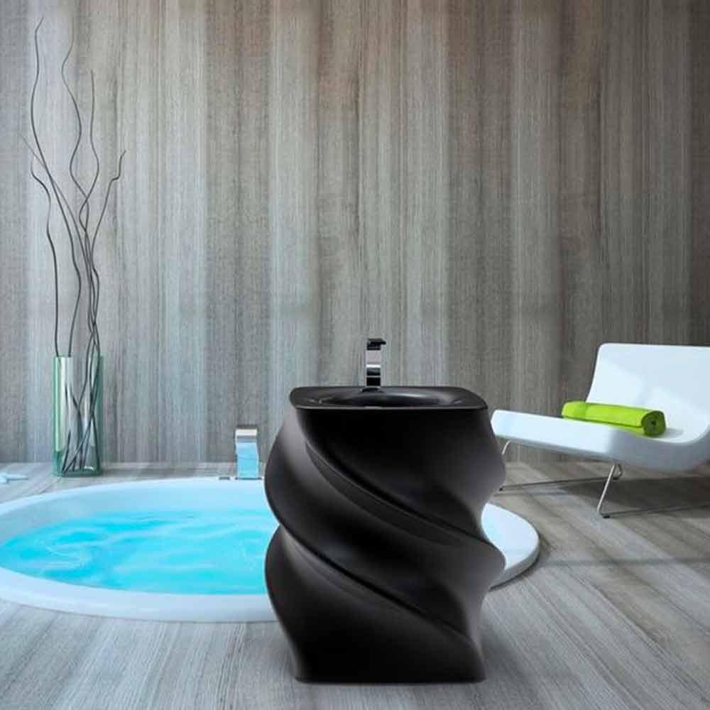 Freistehendes Waschbecken schwarz in modernem Design Twist Made in Italy