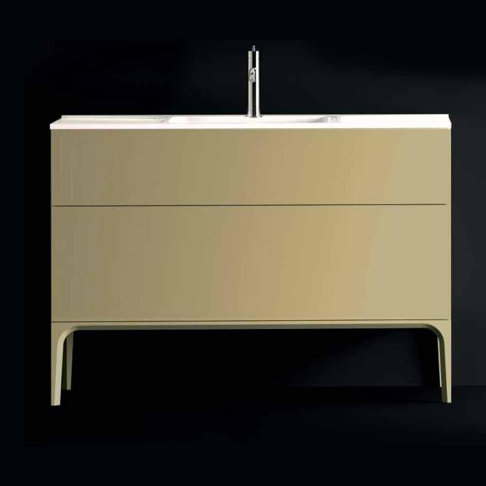 Badezimmerschrank Mit Waschbecken In Lackiertem Holz