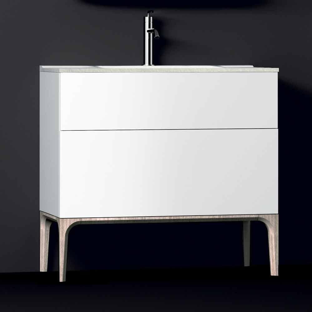 badezimmerschrank mit integriertem modernen waschbecken bernstein harz und lackiertem holz. Black Bedroom Furniture Sets. Home Design Ideas