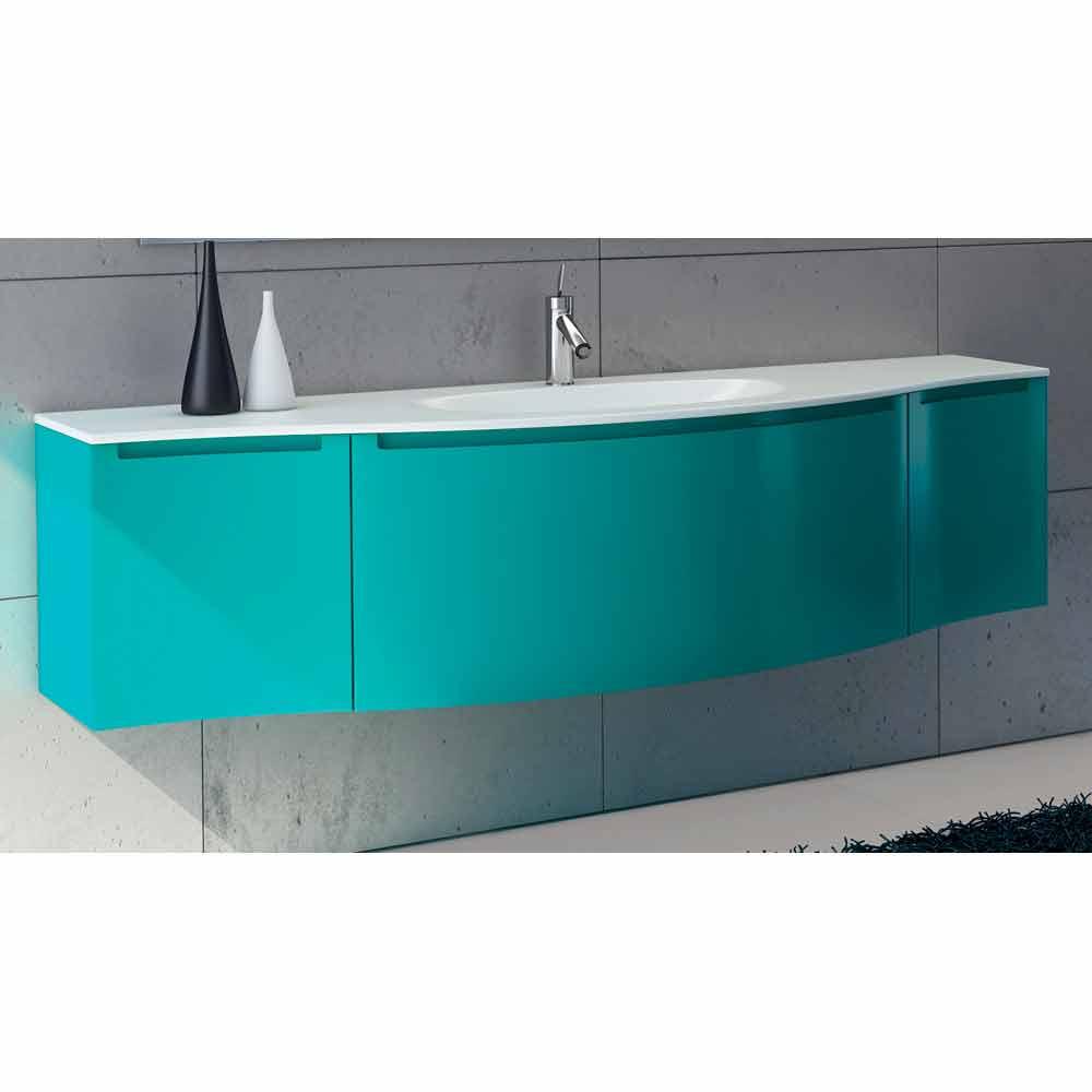 Abgeh ngte badezimmerschrank mit integriertem waschbecken for Badezimmerschrank mit waschbecken