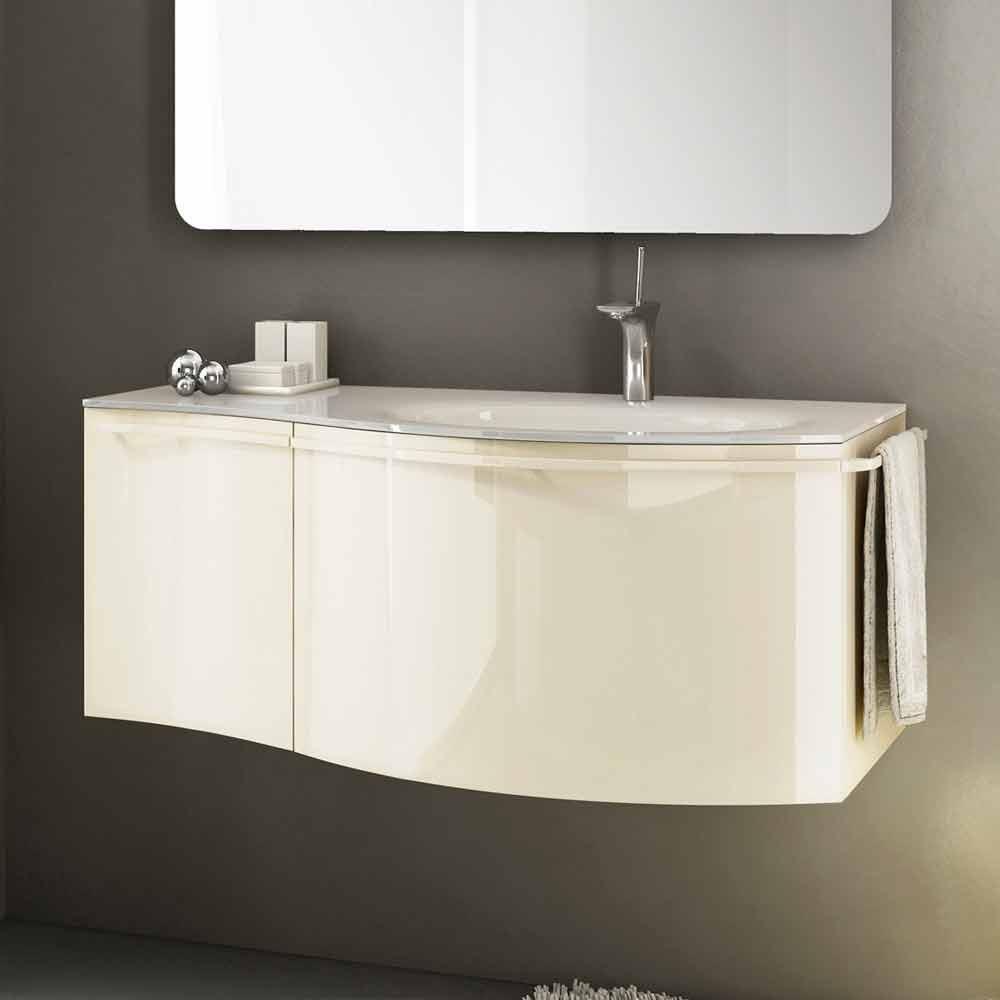 Moderner h ngeschrank mit waschbecken in beige lackiertem holz gioia 1 - Viadurini bagno ...