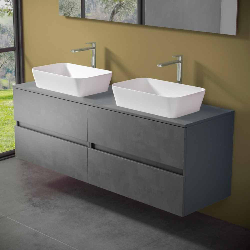 Abgehängter Badezimmerschrank mit Doppelwaschbecken   Mandrillo