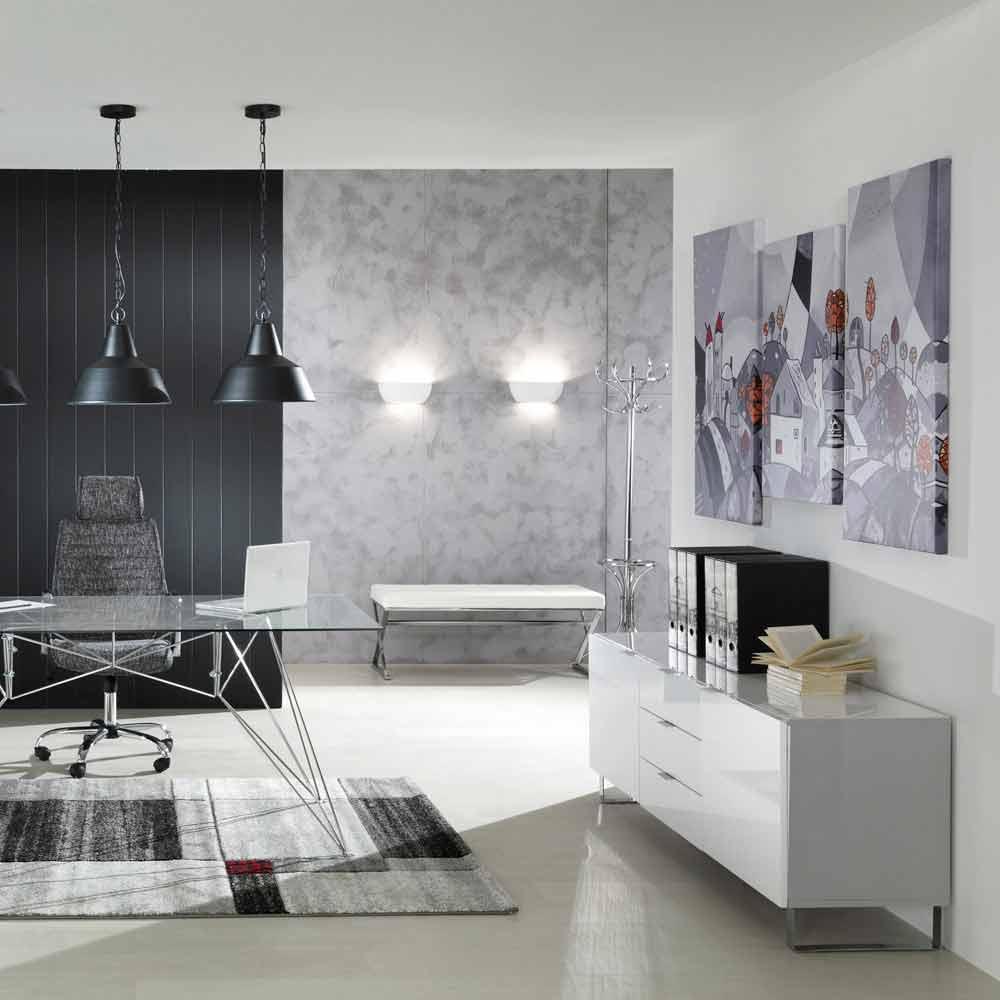 moderner tv st nder mit 3 schubladen und 2 saffo t ren wei lackiert. Black Bedroom Furniture Sets. Home Design Ideas