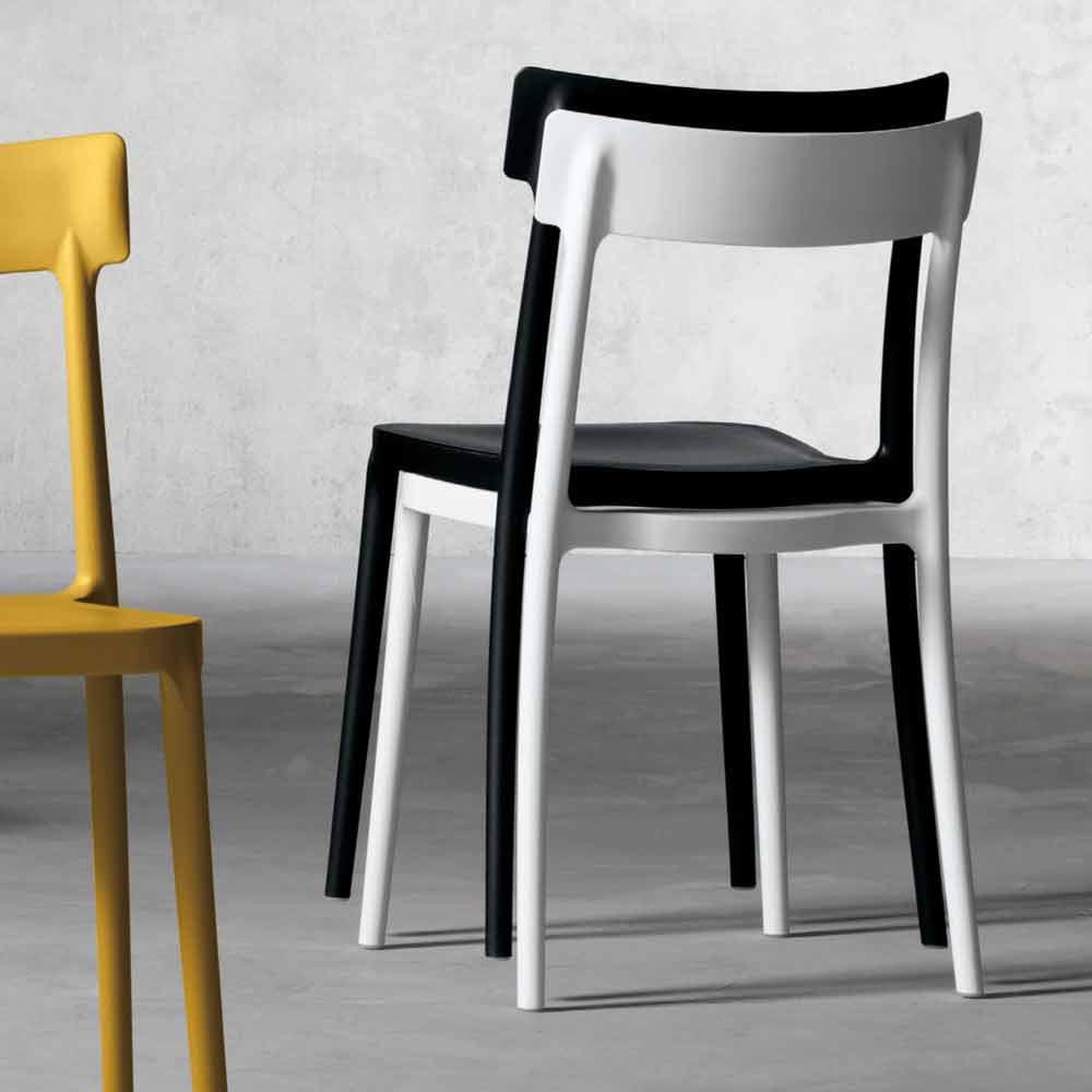 Design Outdoor / Indoor Stuhl aus Polypropylen hergestellt in Italien, Peia