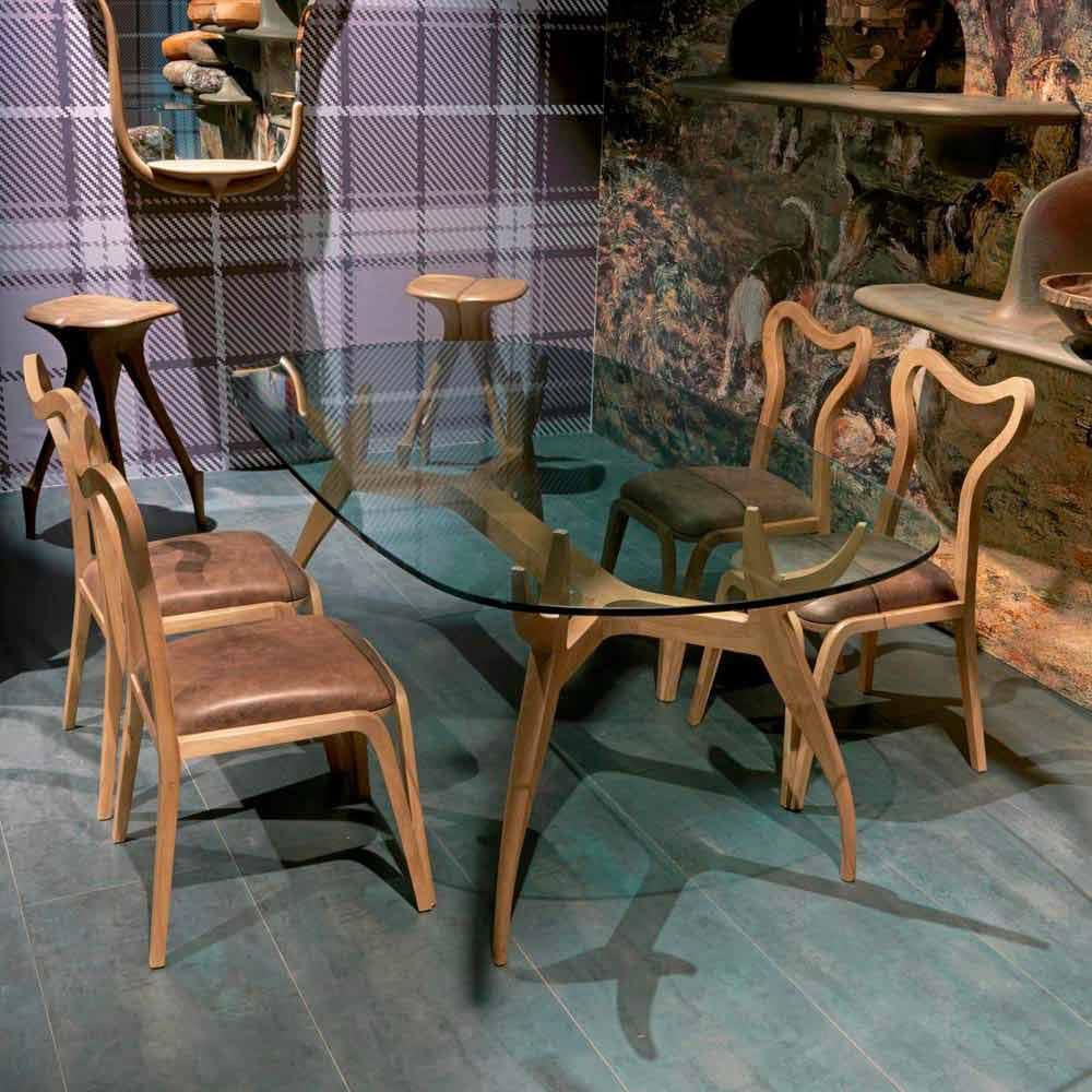 Esszimmer stuhl aus holz und leder in modernem design for Design stuhl leder holz