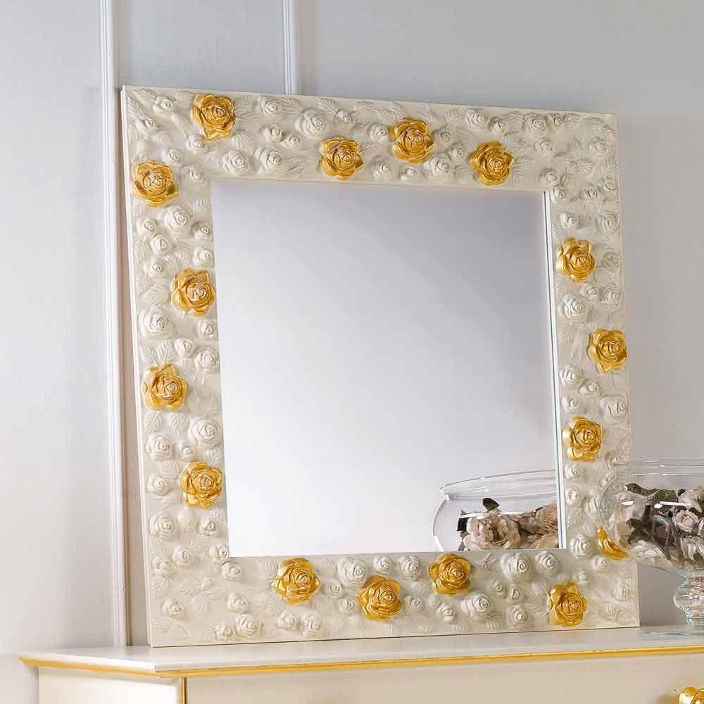 Wandspiegel mit rosen verziert flower - Spiegel verzieren ...