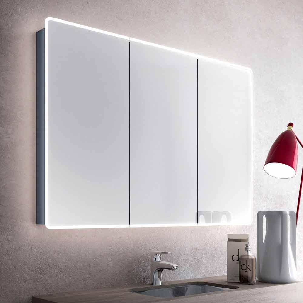 Wand badezimmerspiegel mit led und 3 t ren modernes for Badezimmerspiegel modern