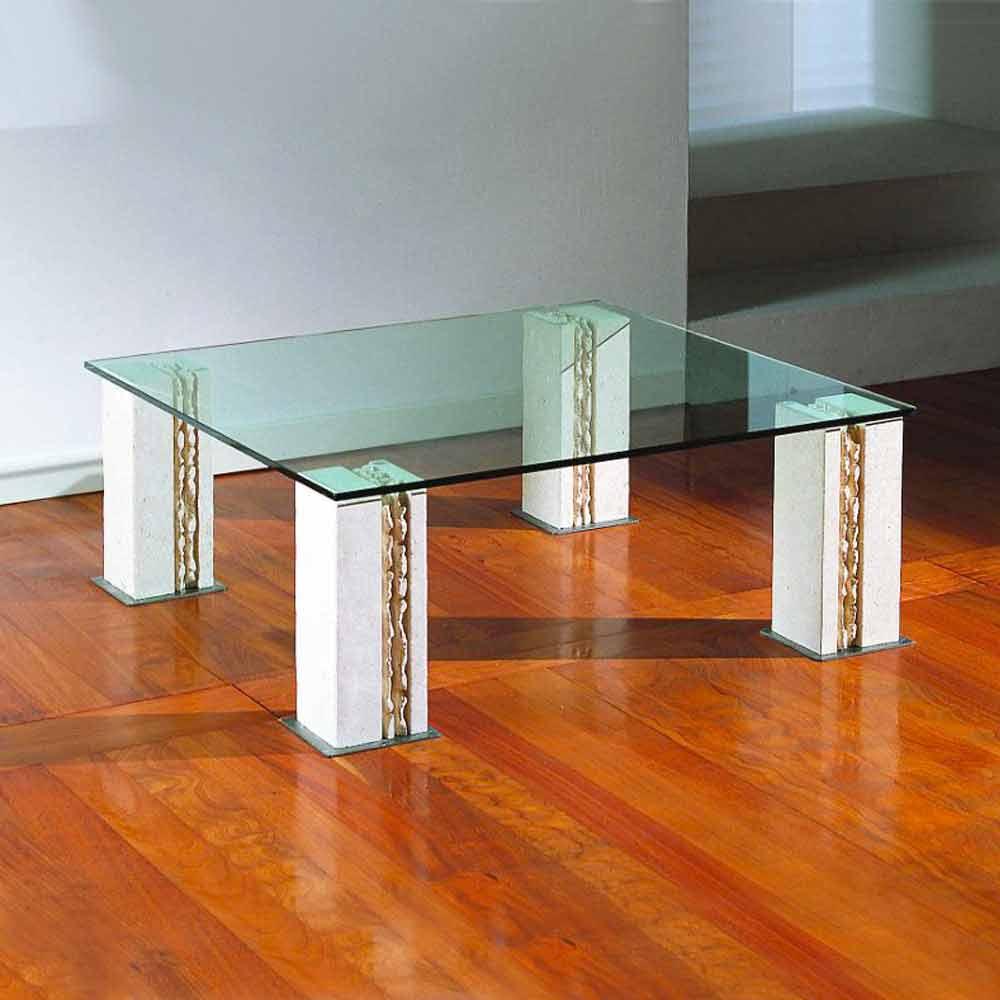 Couchtisch aus Stein und Kristall in modernem Design Milos
