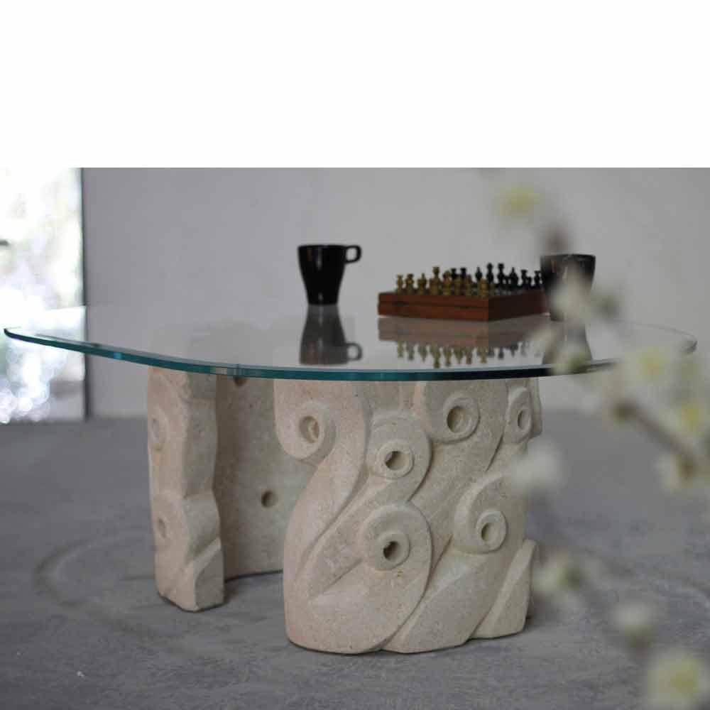 couchtisch modernes design, couchtisch oval aus stein und kristall in modernem design lindos, Design ideen