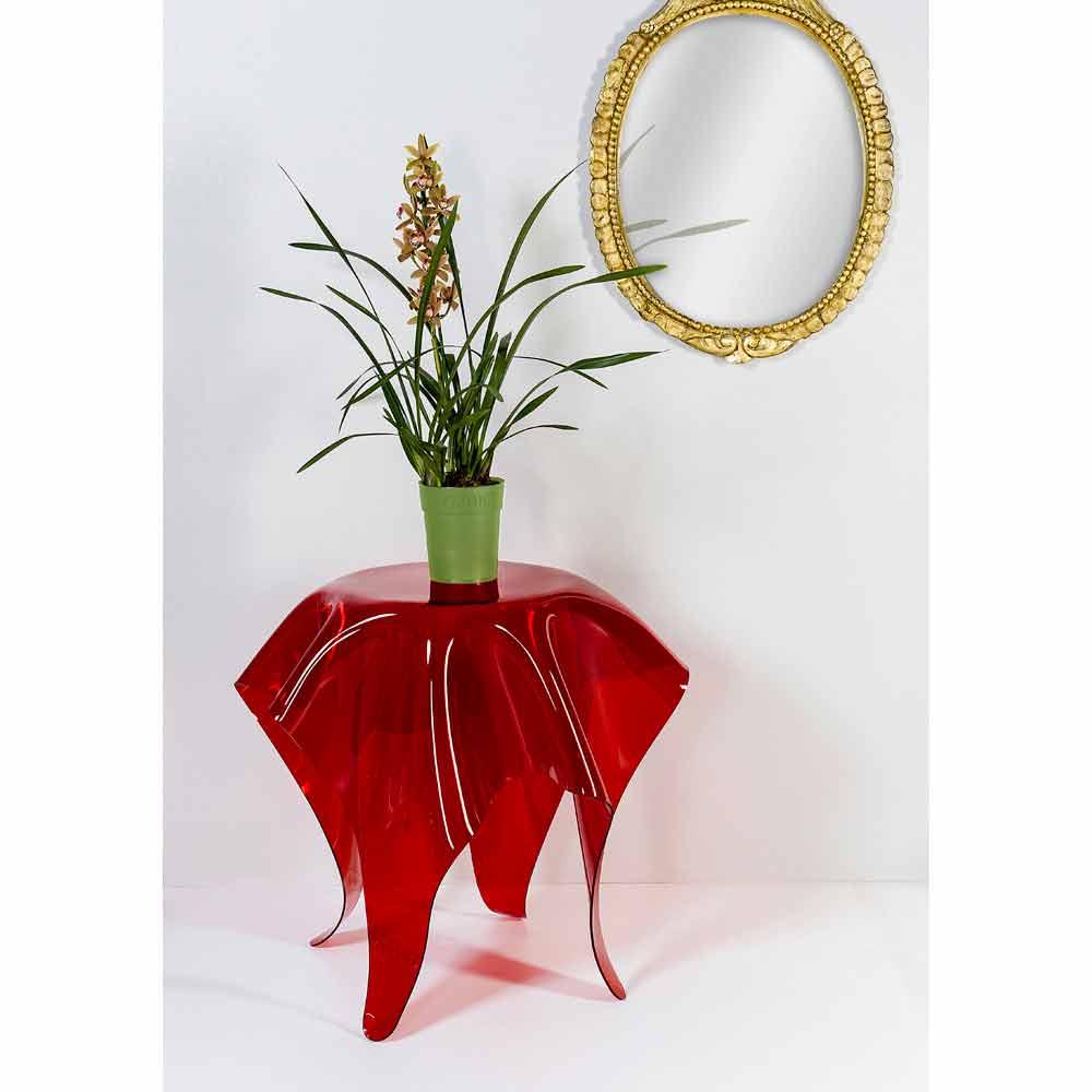 Moderner beistelltisch aus rotem plexiglas otto made in italy for Beistelltisch plexiglas