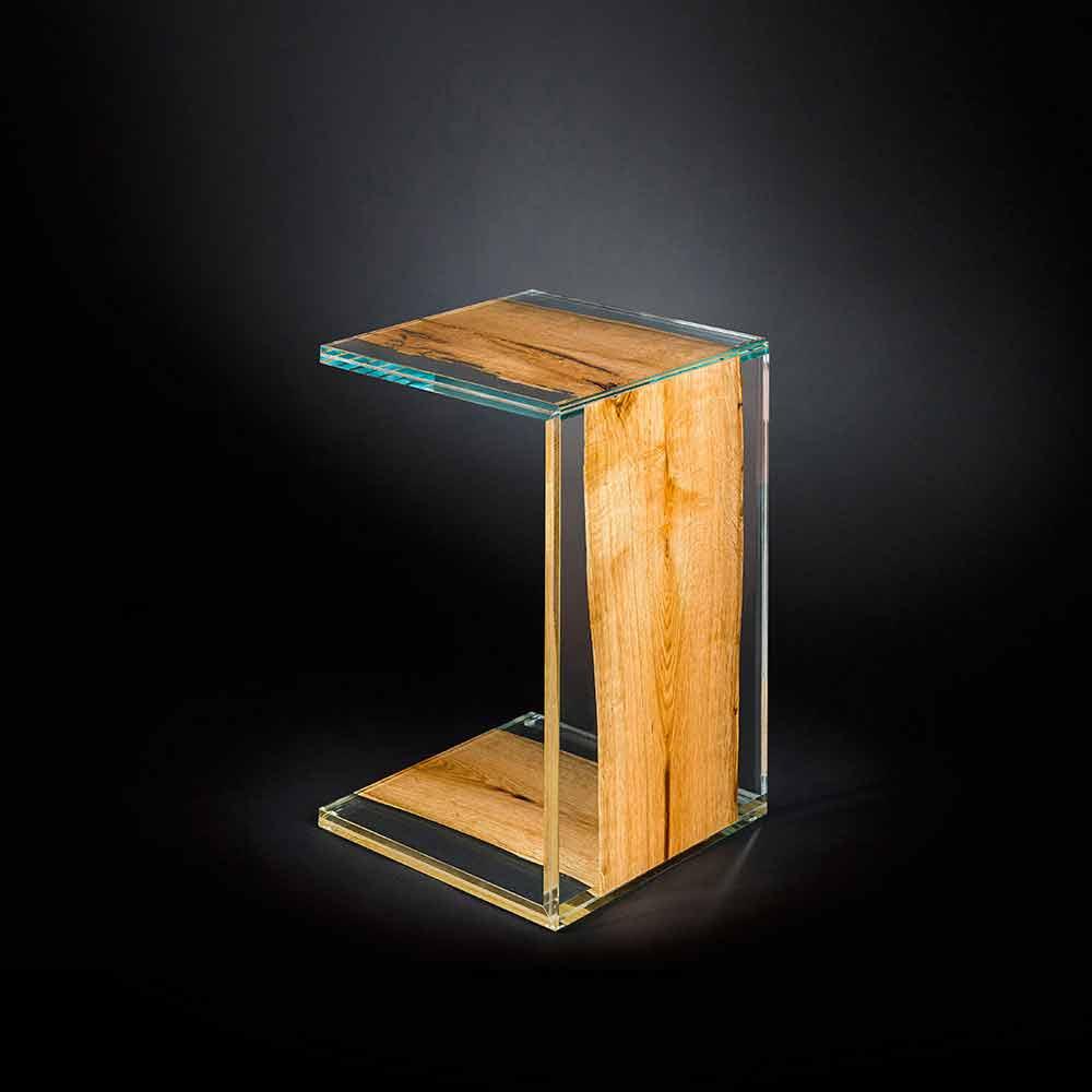 Couchtisch aus glas und holz in modernem design mit einem for Couchtisch holz und glas