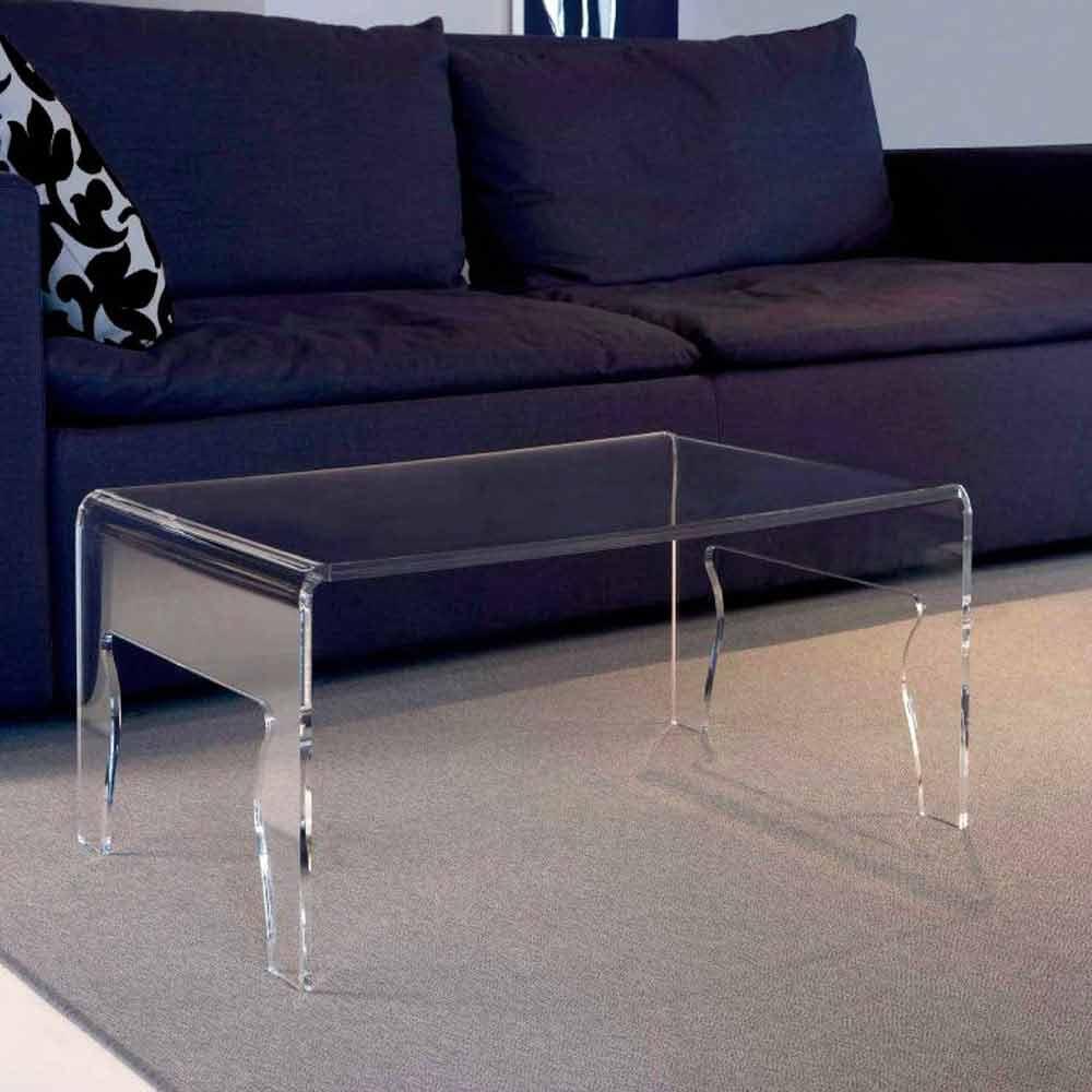 moderner tisch aus transparentem methacrylat l56x50xh31cm. Black Bedroom Furniture Sets. Home Design Ideas