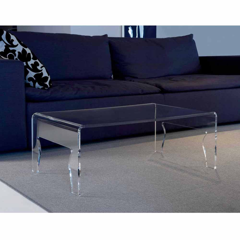 moderner tisch aus transparentem methacrylat l85xp50xh31cm. Black Bedroom Furniture Sets. Home Design Ideas