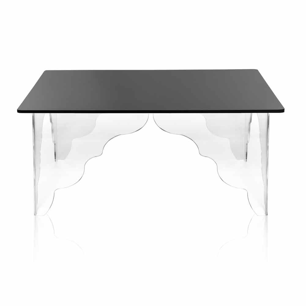 moderner rechteckiger tisch aus schwarzem acryl kristall morita. Black Bedroom Furniture Sets. Home Design Ideas