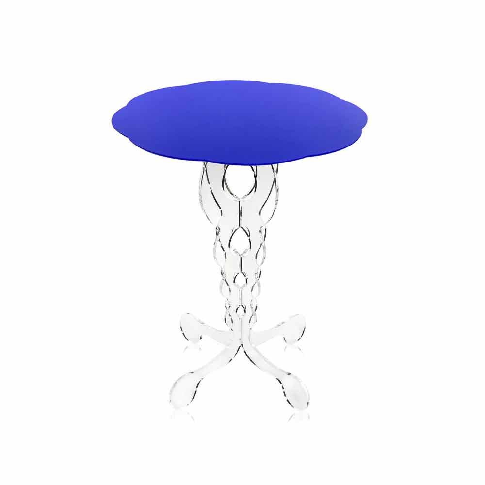 kleiner runder tisch blau durchmesser 50 cm modernes. Black Bedroom Furniture Sets. Home Design Ideas