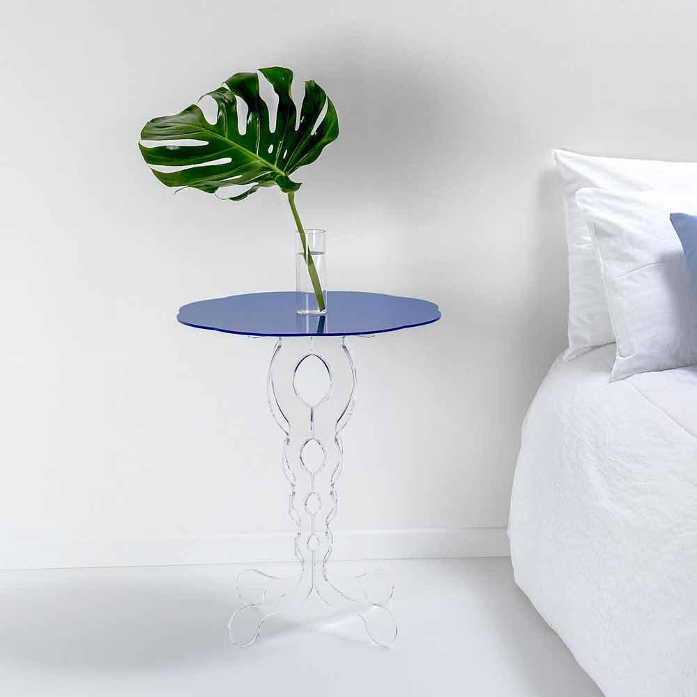 kleiner runder tisch blau durchmesser 50 cm modernes design janis made in italy. Black Bedroom Furniture Sets. Home Design Ideas