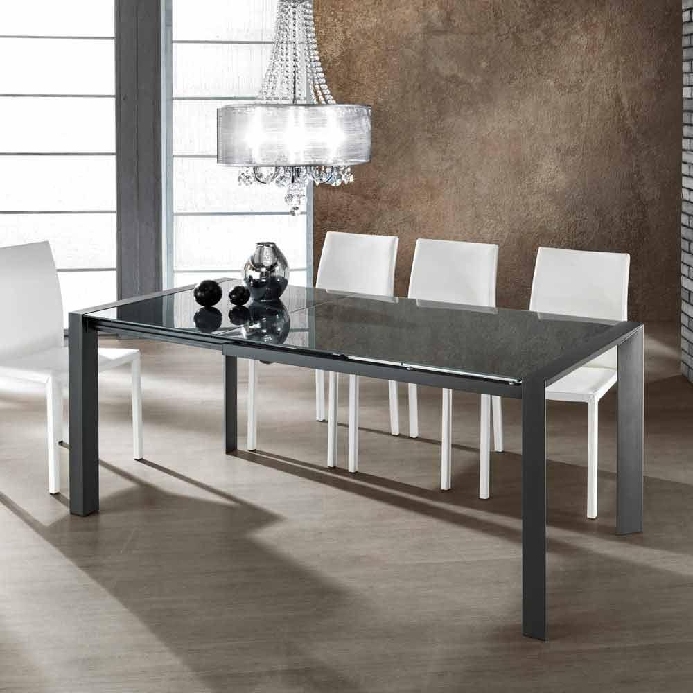 ausziehbarer tisch aus grau lackiertem glas und zeno metall. Black Bedroom Furniture Sets. Home Design Ideas