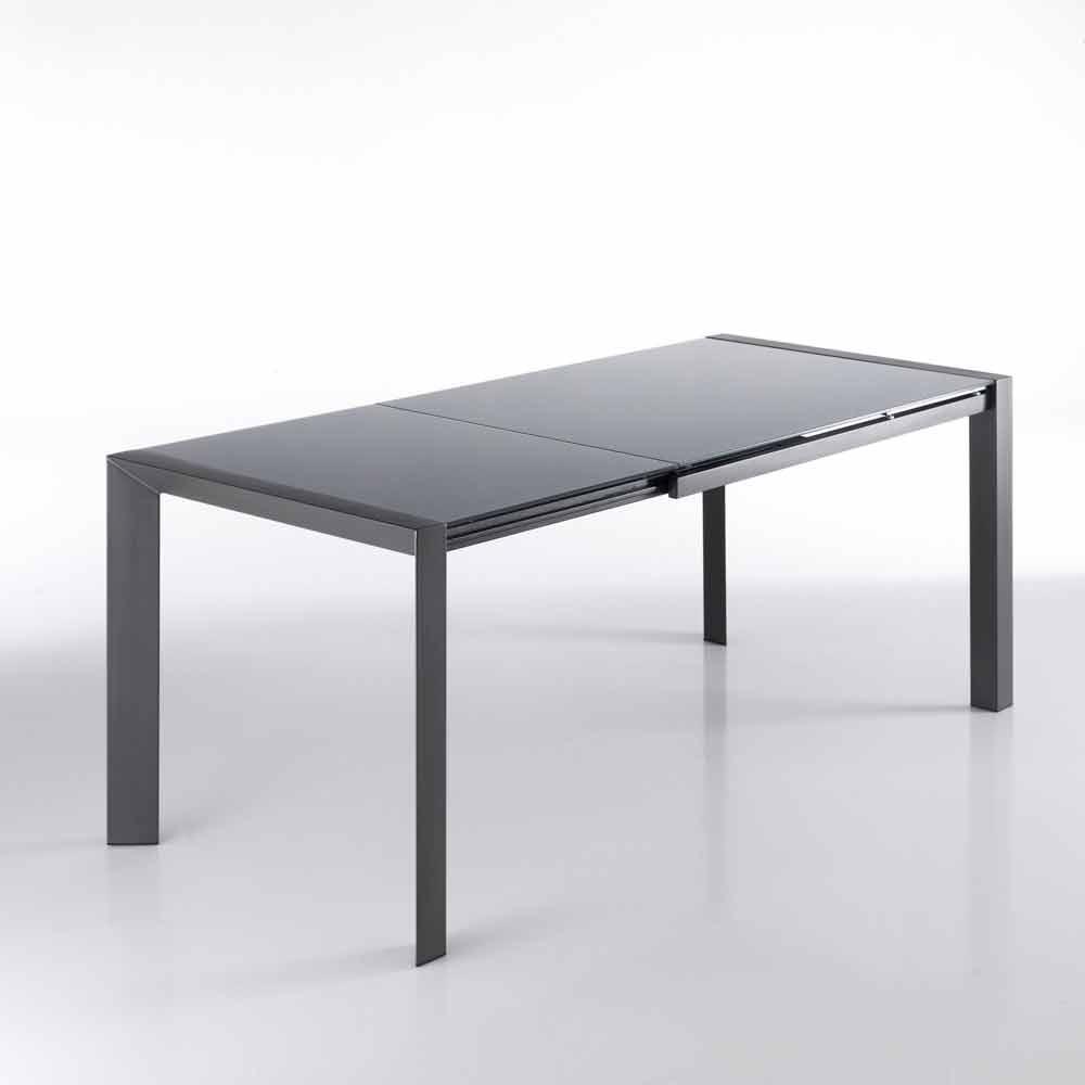 Ausziehbarer tisch aus grau lackiertem glas und zeno metall for Ausziehbarer tisch
