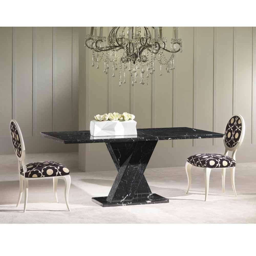 Klassischer Fester Tisch Aus Marmor Mit Geflechtem Sockel Byron