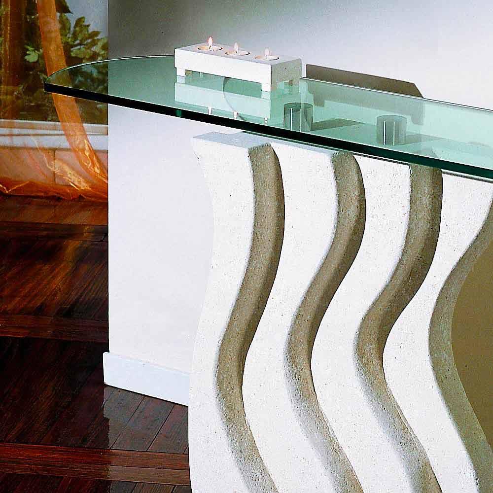 moderner konsolentisch aus stein und kristall ciril. Black Bedroom Furniture Sets. Home Design Ideas