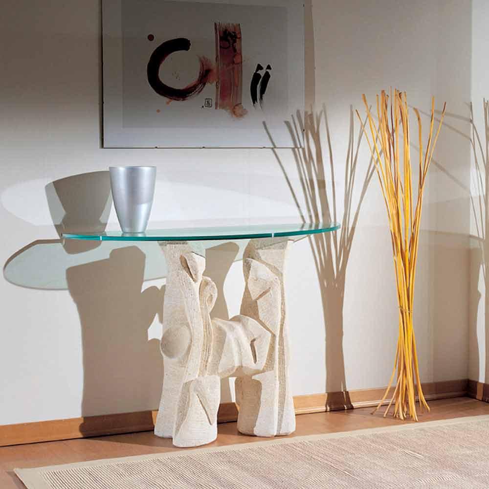 konsolentisch aus stein und kristall in modernem design dios. Black Bedroom Furniture Sets. Home Design Ideas