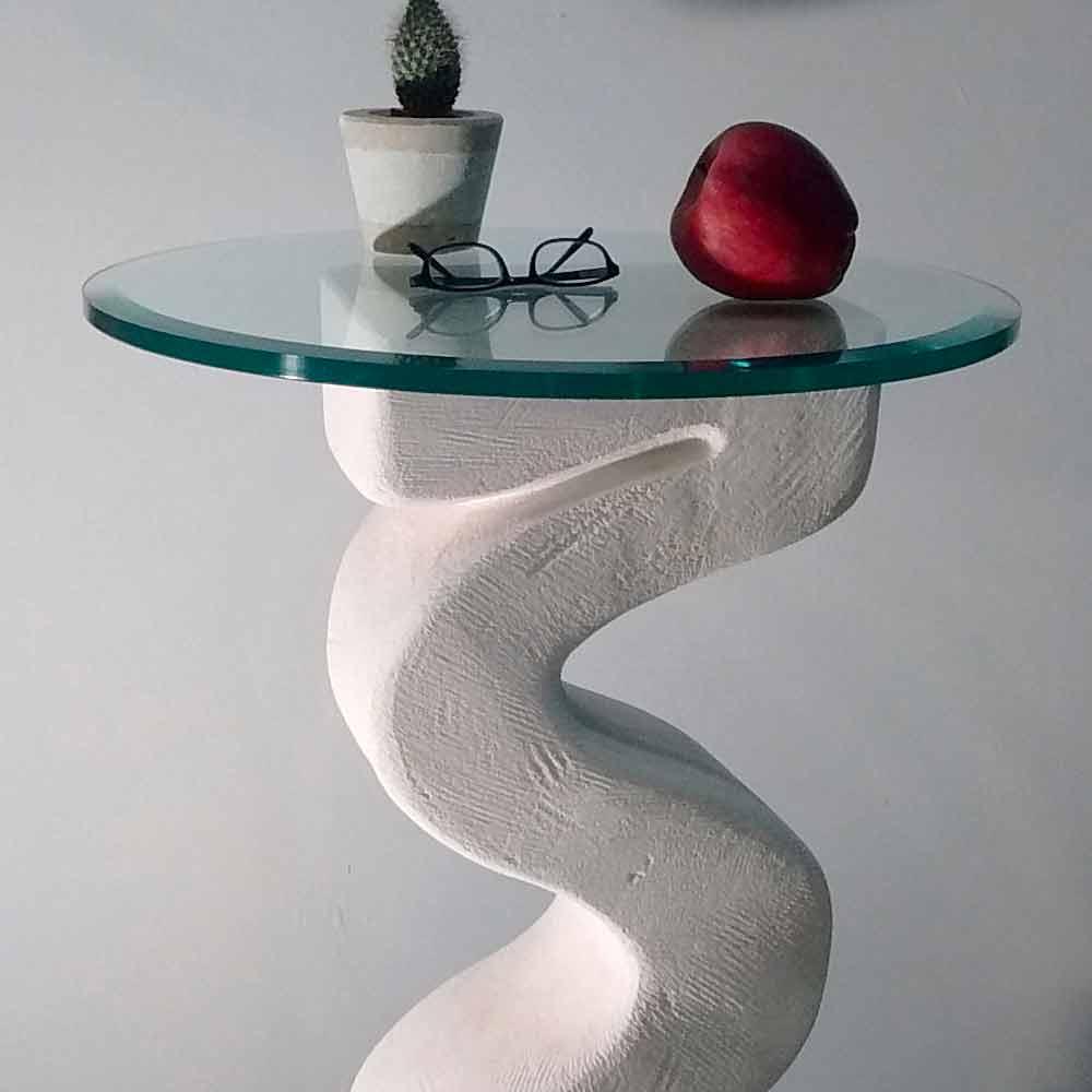 konsolentisch rund aus stein und kristall in modernem. Black Bedroom Furniture Sets. Home Design Ideas