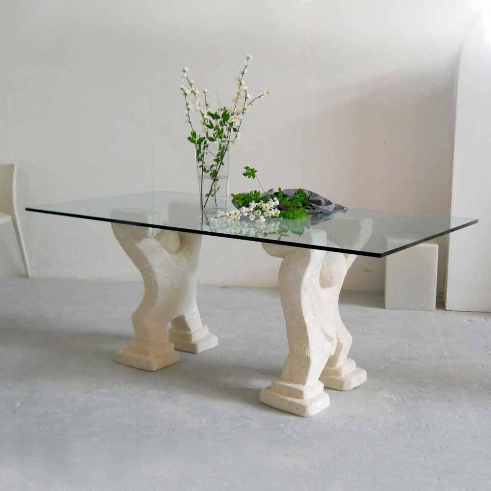 esstisch aus stein und kristall in modernem design medusa. Black Bedroom Furniture Sets. Home Design Ideas