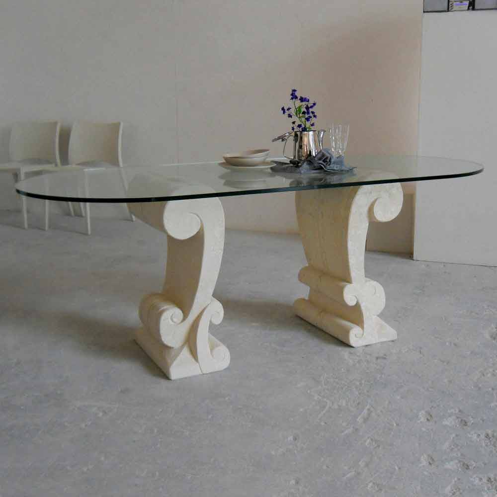 ovaler esstisch aus stein und kristall im klassischen design aracne. Black Bedroom Furniture Sets. Home Design Ideas