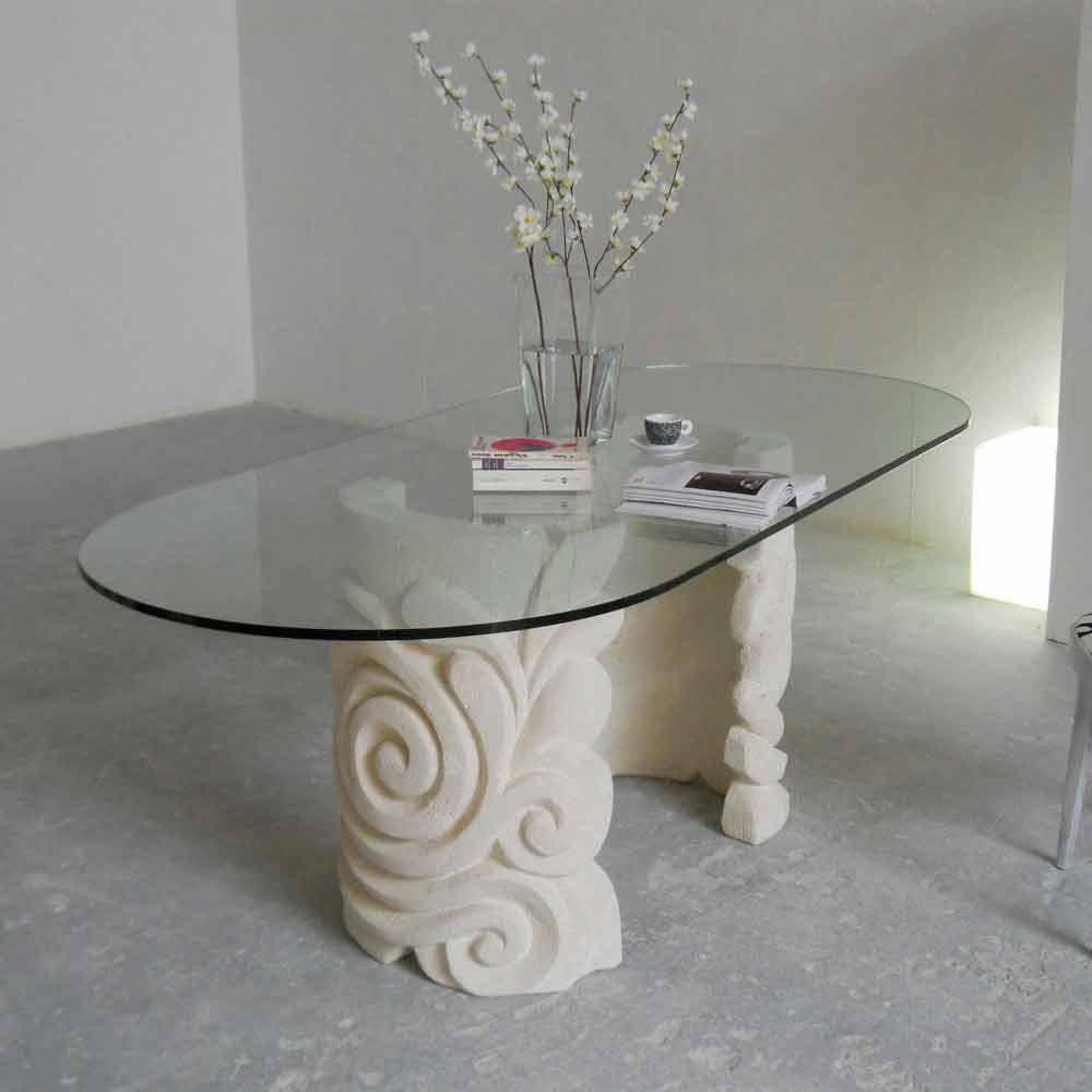 Ovaler tisch aus stein und kristall in modenrem design aden - Ovale wandregale ...