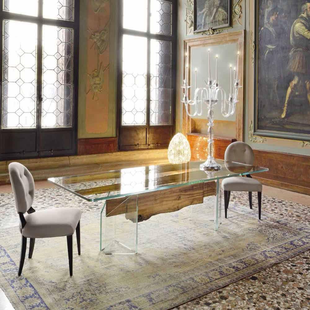 Tisch aus briccola holz und glas rechteckig in modernem for Tisch glas holz