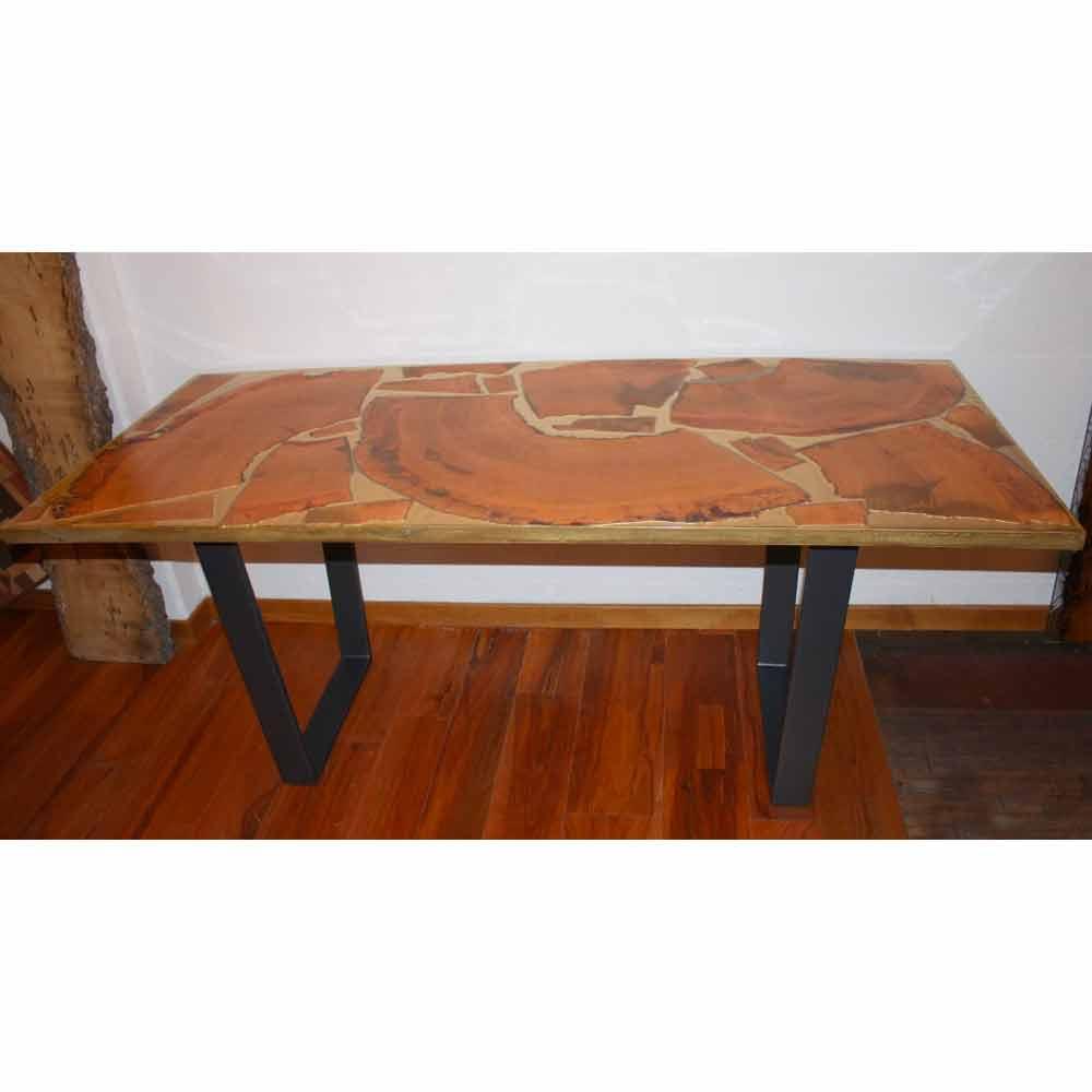 Fester rechteckiger tisch aus holz und harz design made for Tisch holz design