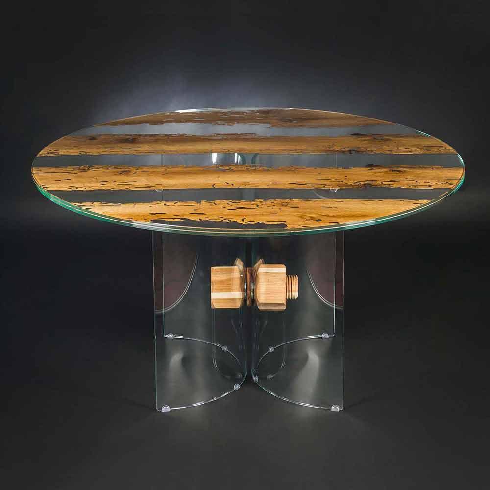 Runder tisch aus briccola holz und glas venezia for Tisch glas holz