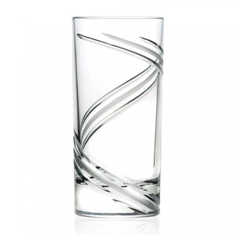 12 große Tumbler-Cocktailgläser aus italienischem ökologischem Kristall - Zyklon