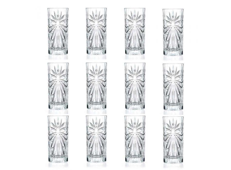 12 Highball Tumbler Hohe Cocktailgläser im Eco Crystal Design - Daniele