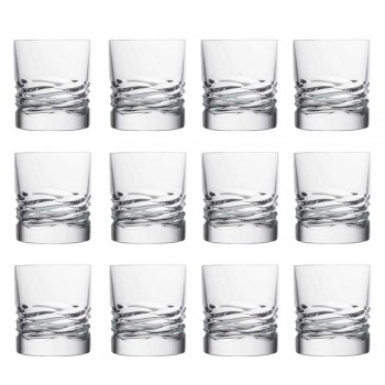 12 Kristallgläser Wave Decor für Whisky oder Dof Tumbler Water - Titan