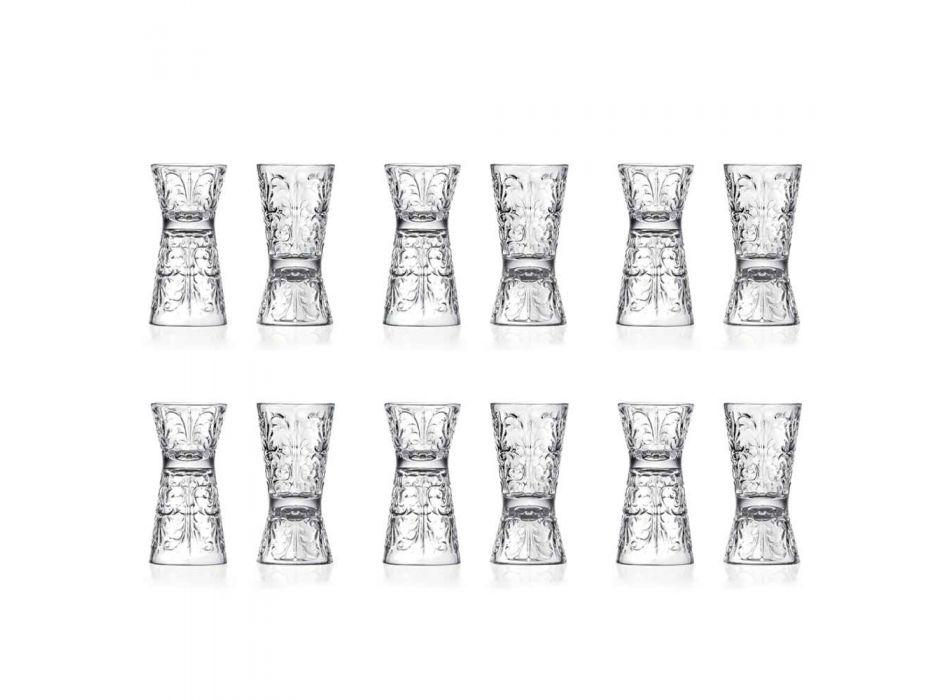 12 luxuriös verzierte Jiggergläser aus ökologischem Kristall - Schicksal