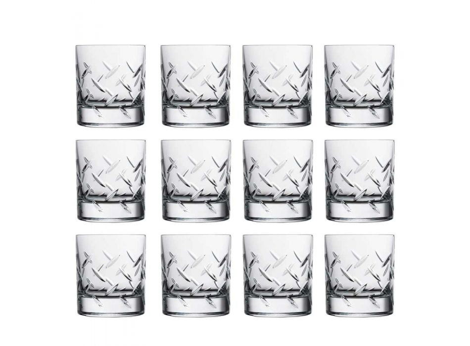 12 Gläser für Whisky oder Wasser in Öko-Kristall mit modernen Dekorationen - Arrhythmie
