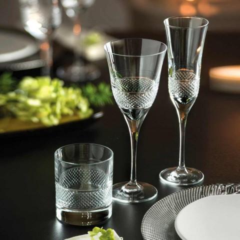 12 Rotweingläser in Eco Crystal Elegant verziertes Design - Milito