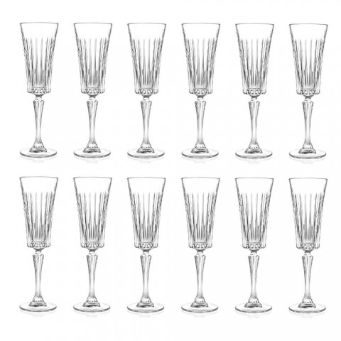 12 Flötengläser für Sekt mit linearen Schnitten in Öko-Kristall - Senzatempo